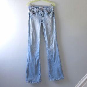 REFUGE | Mid Rise Slim Fit Flared Leg Jeans 7 Tall